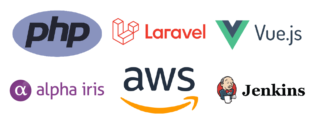 Our tech stack includes PHP, Laravel, Vue.js, Alpha Iris, AWS and Jenkins.