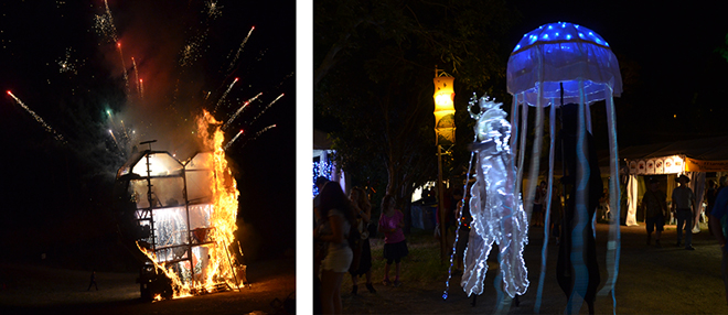 LEFT: The Fire Event occurs on the 1st of January every year with a unique theme. RIGHT: Street Theatre in the Monster Parade.